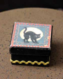Halloween Small Square Box - Black with Cat