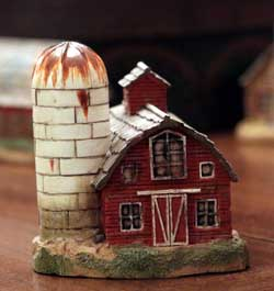 Primitive Town - Red Barn with Silo
