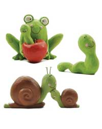 Smiling Frog / Snail / Worm (Set of 3)