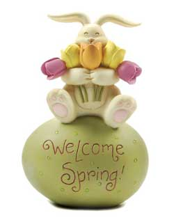 Welcome Spring Egg with Bunny and Flowers