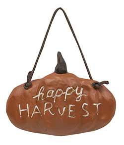 Happy Harvest Resin Pumpkin Sign