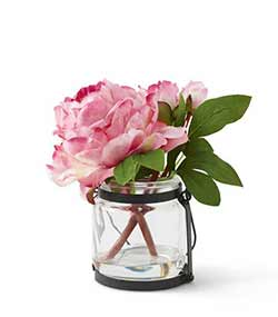 Pink Peony in Glass Jar