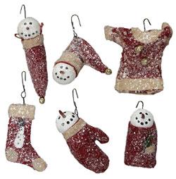 Red Wool & Glitter Snowman Ornament