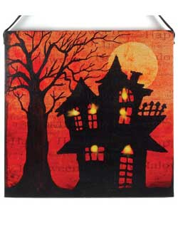 Haunted House Canvas Wall Sign with LED Light