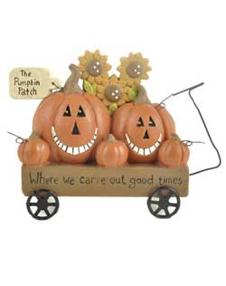 Pumpkin Patch Jack O'Lanterns in Wagon