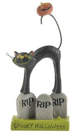 Spooky Halloween Cat on Tombstone