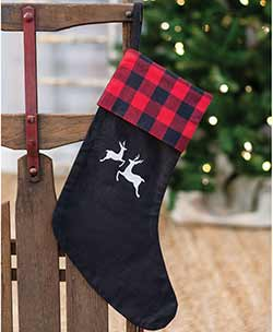 Red Buffalo Check Reindeer Stocking