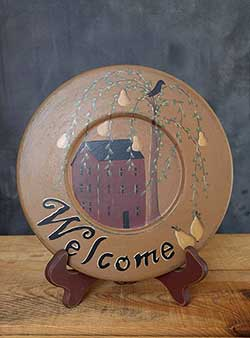 Welcome Plate with Pear Tree and Saltbox House