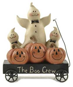 Boo Crew Wagon with Pumpkins and Ghosts