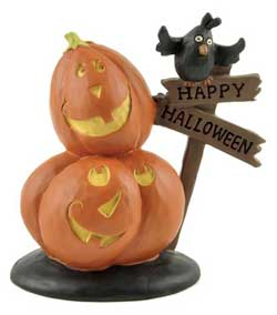 Two Stacked Jack O'Lanterns with Happy Halloween Sign