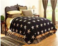 Victorian Heart Black Star Coverlet - Queen Size