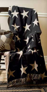 Victorian Heart Black Star Woven Throw