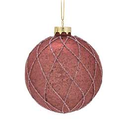 Rose Quilted Ball Ornaments (Set of 6)