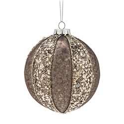 Gray Glittered Ball Ornaments (Set of 6)