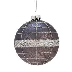 Navy & Gray Glittered Ball Ornaments (Set of 6)