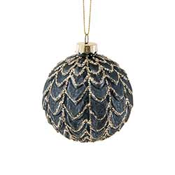 Dark Blue Glittered Ball Ornaments (Set of 6)