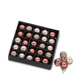 Pink & Rose Gold Mini Ball Ornaments (Box of 25)