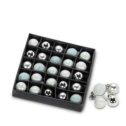 Silver & Gray Mini Ball Ornaments (Box of 25)