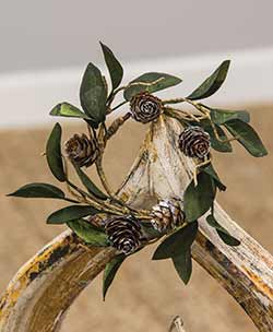 Silver Frosted Leaf & Pine Cone Candle Ring
