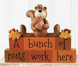 Bunch of Nuts Stacked Blocks with Squirrel