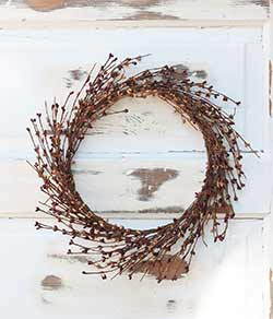 Burgundy & Tea Stain Pip Berry Wreath (16 inch)