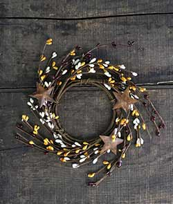 Mustard, Ivory, & Burgundy Pip Berry Candle Ring with Stars (3.5 inch)