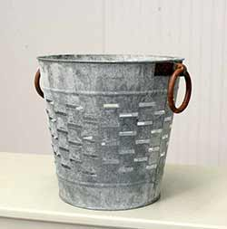 Gray Zinc Olive Bucket