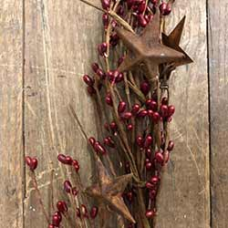 Red Pip Berry Garland with Rusty Stars