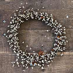 Cream Pip Berry & Rusty Star Wreath