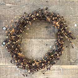 Burgundy & Tea Stain Pip Berry Wreath with Rusty Stars (16 inch)