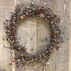 Red, Sage Green, & Tea Stain Pip Berry Wreath with Rusty Stars (16 inch)