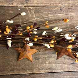 Mustard, Cream, & Burgundy Pip Berry Garland with Stars