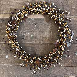Burgundy, Cream, & Mustard Pip Berry Wreath with Rusty Stars (16 inch)