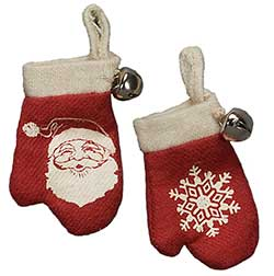 Vintage Felt Mitten Ornaments (Set of 2)