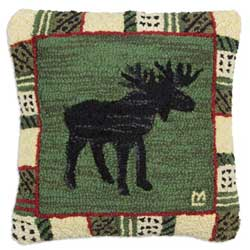 Argyle Spruce Moose Hooked Pillow