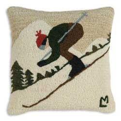 Downhill Skier Hooked Pillow