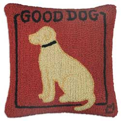 Good Dog Yellow Hooked Pillow