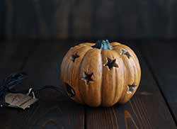 Mini Antiqued Lighted Pumpkin Figurine