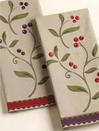 Fall Berries Embroidered Dishtowel