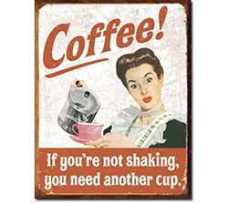 Vintage Coffee Ephemera Tin Sign
