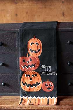 Happy Halloween Jack O'Lanterns Dishtowel