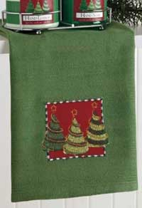 Christmas Trees Embellished Dishtowel