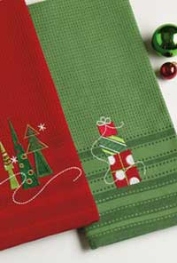 Stacked Presents Embroidered Dishtowel