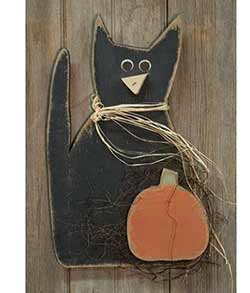 Black Cat with Pumpkin Wall Decor