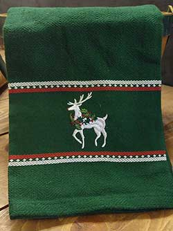 Reindeer Embroidered Dishtowel