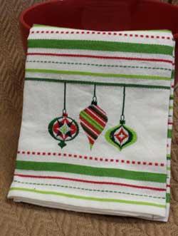 Ornaments Embroidered Dishtowel