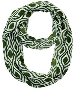 Green Mist Ogee Ikat Infinity Scarf