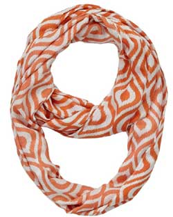 Celosia Orange Ogee Ikat Infinity Scarf