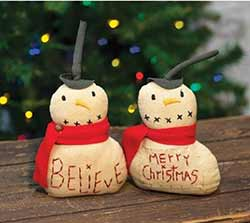 Merry Christmas & Believe Mini Snowmen (Set of 2)