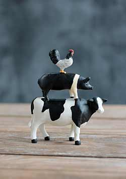 Rooster Pig Cow Stacked Animals
